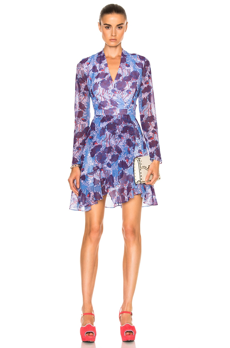 Carven Floral Long Sleeve Dress in Bleu & Violet | FWRD