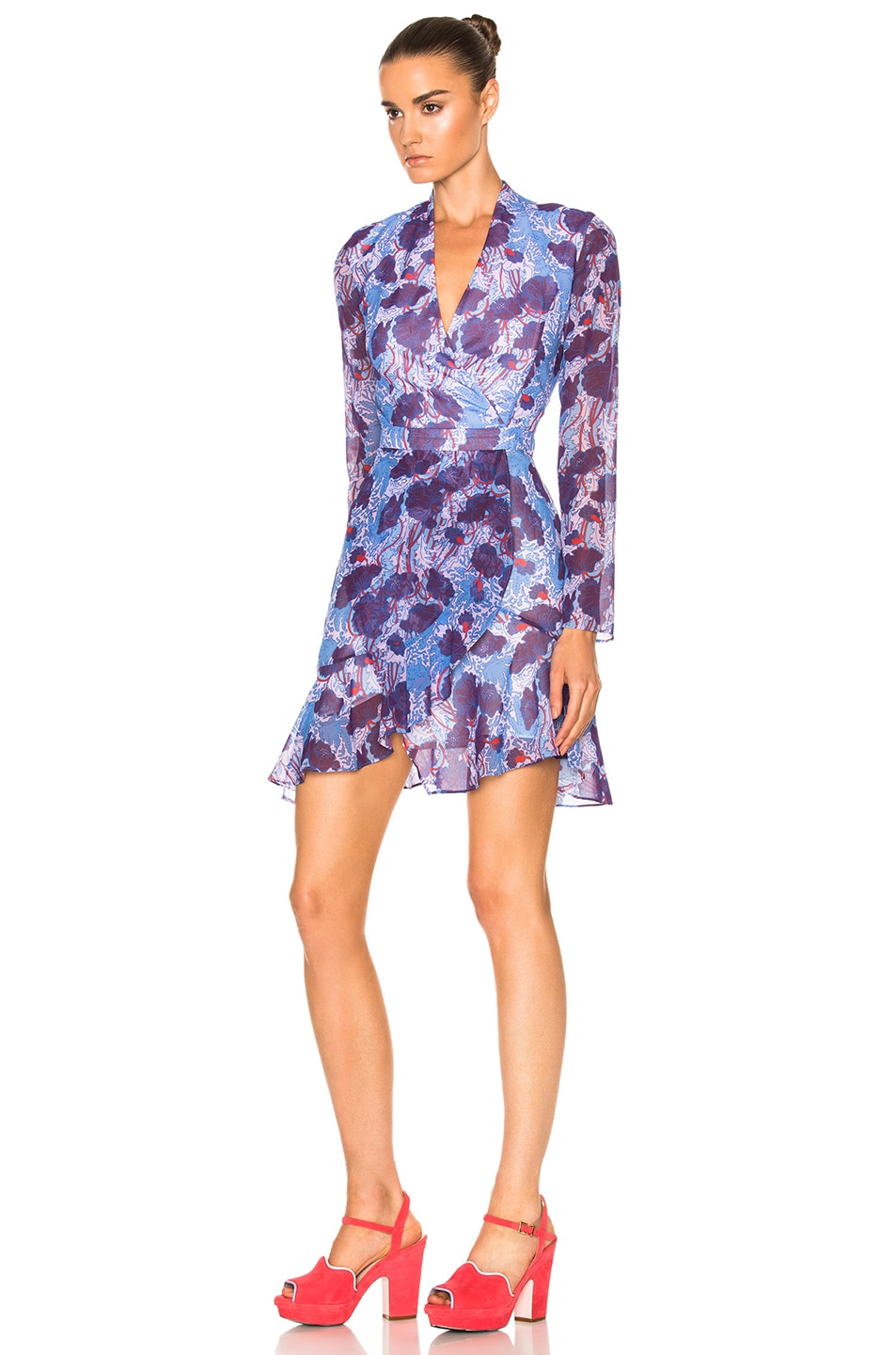 Image 2 of Carven Floral Long Sleeve Dress in Bleu & Violet