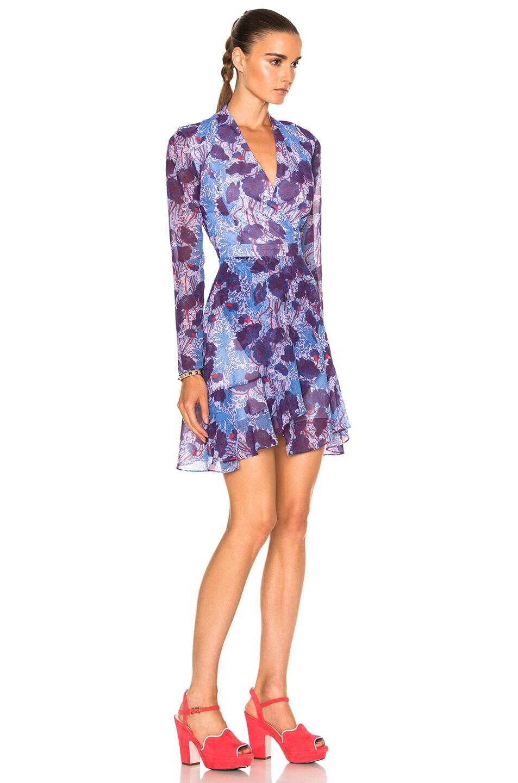 Image 3 of Carven Floral Long Sleeve Dress in Bleu & Violet