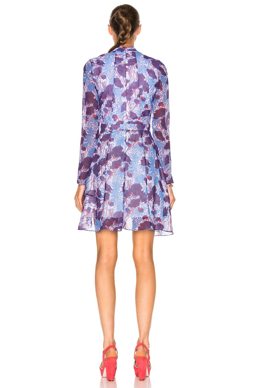 Image 4 of Carven Floral Long Sleeve Dress in Bleu & Violet