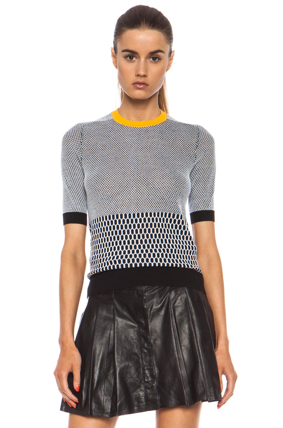 Image 1 of Carven Fancy Cotton Knit Top in Black & White