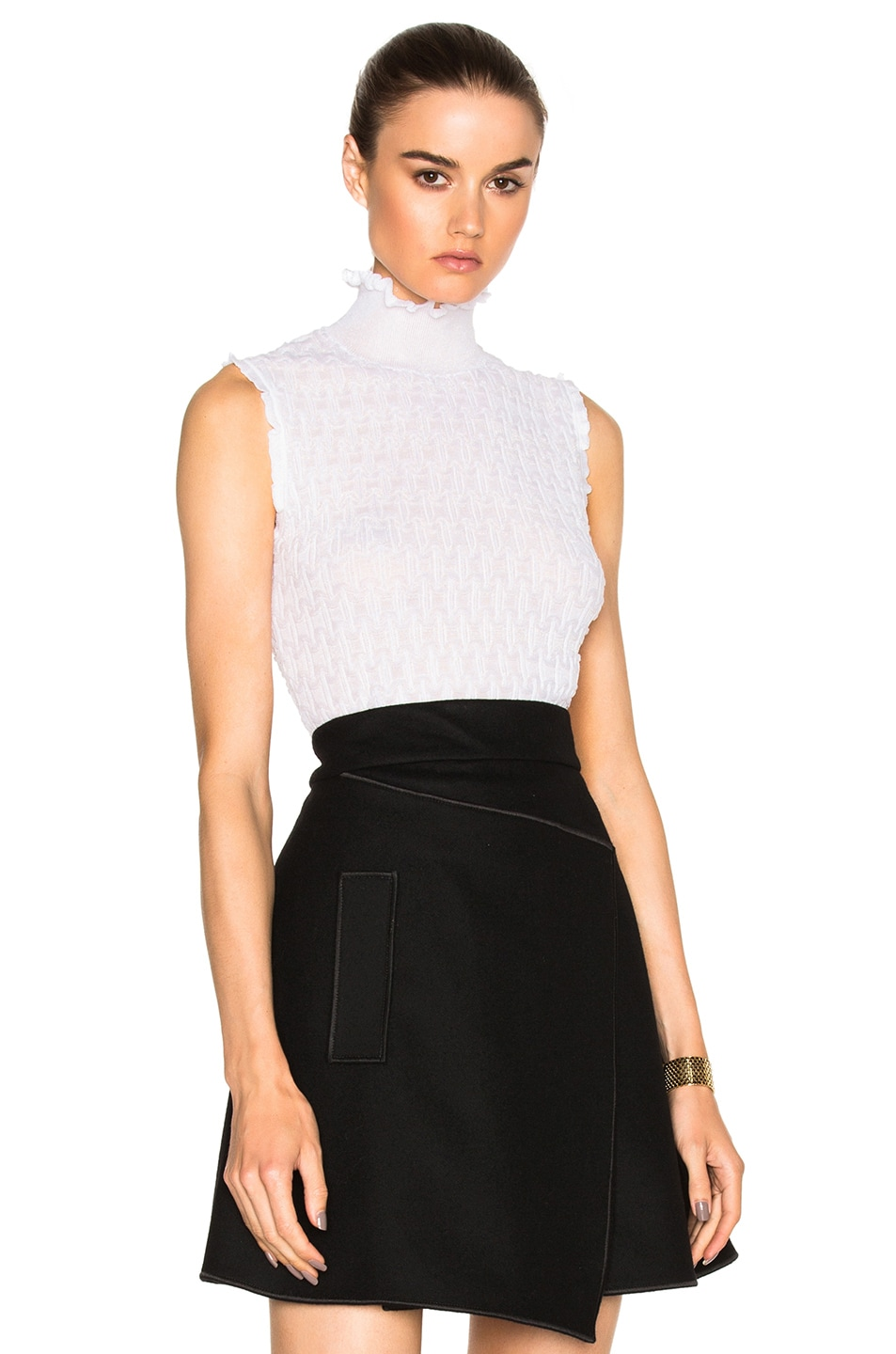 Image 1 of Carven Sleeveless Turtleneck Sweater in White