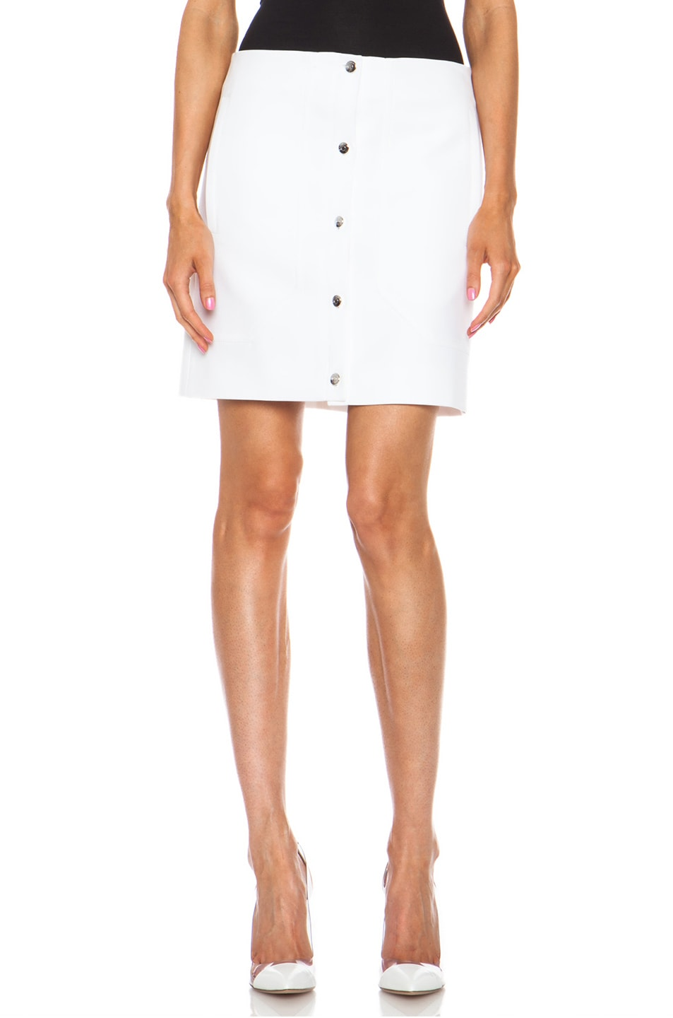Image 1 of Carven Short Button Front Cotton Skirt in White
