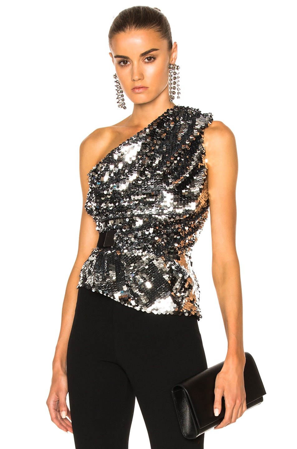 e195a9299312ab Image 1 of Carven One Shoulder Top in Argent