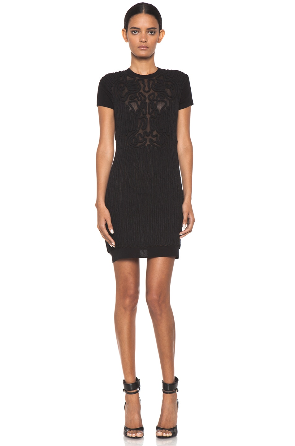 Image 1 of Carven Corenlly Knit Cotton Dress in Black