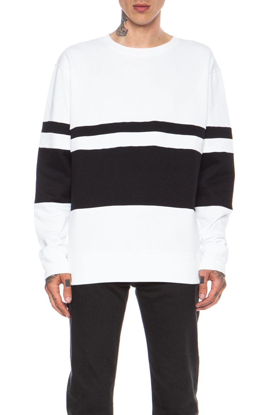 Image 1 of Casely-Hayford Whitfield Panel Stripe Cotton-Blend Sweatshirt in White
