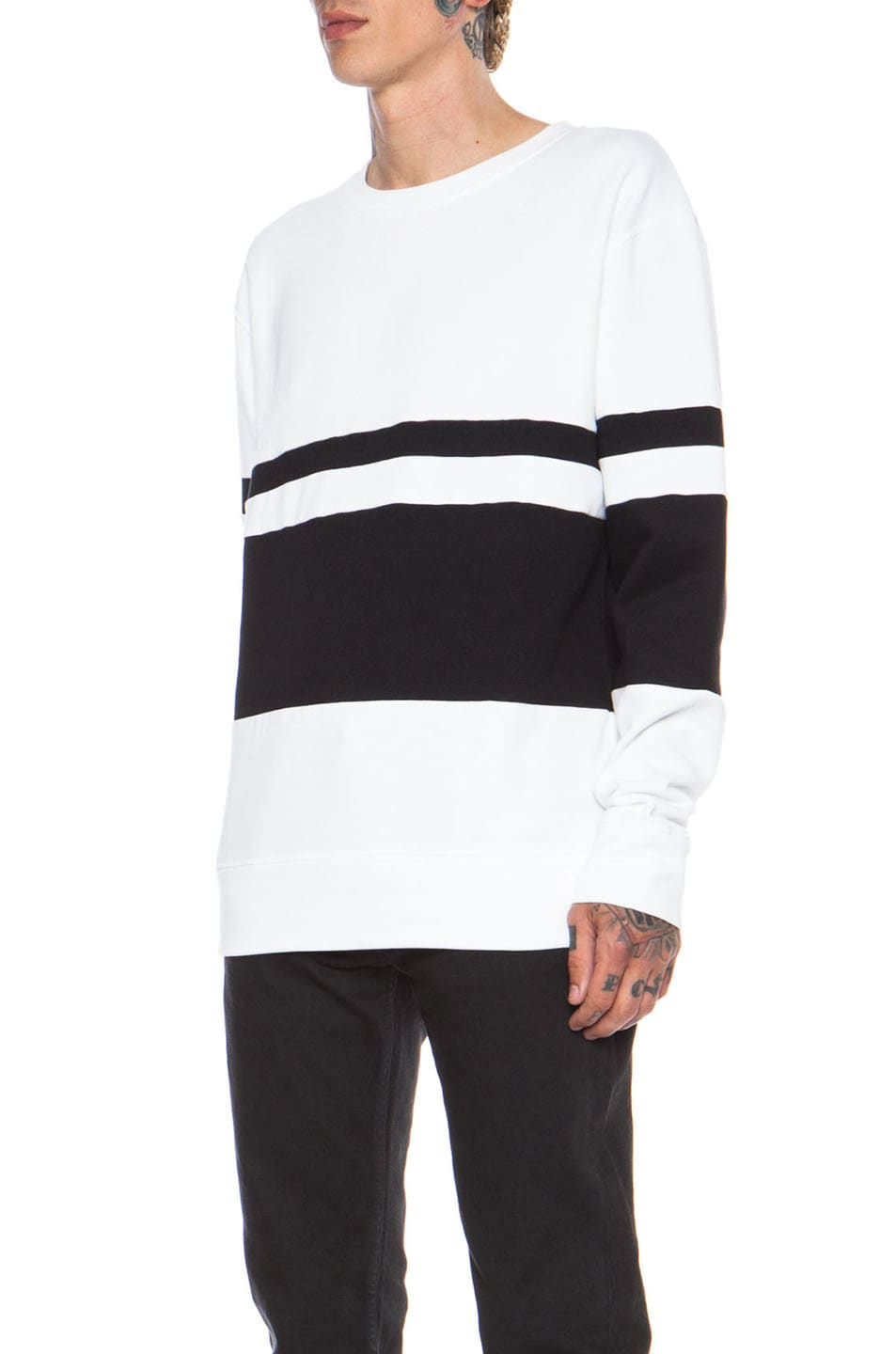 Image 2 of Casely-Hayford Whitfield Panel Stripe Cotton-Blend Sweatshirt in White