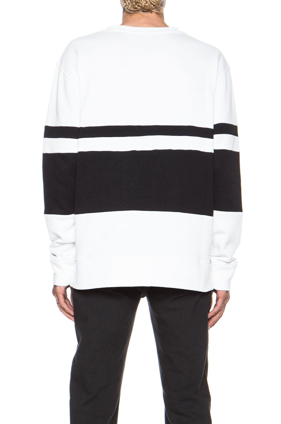Image 4 of Casely-Hayford Whitfield Panel Stripe Cotton-Blend Sweatshirt in White