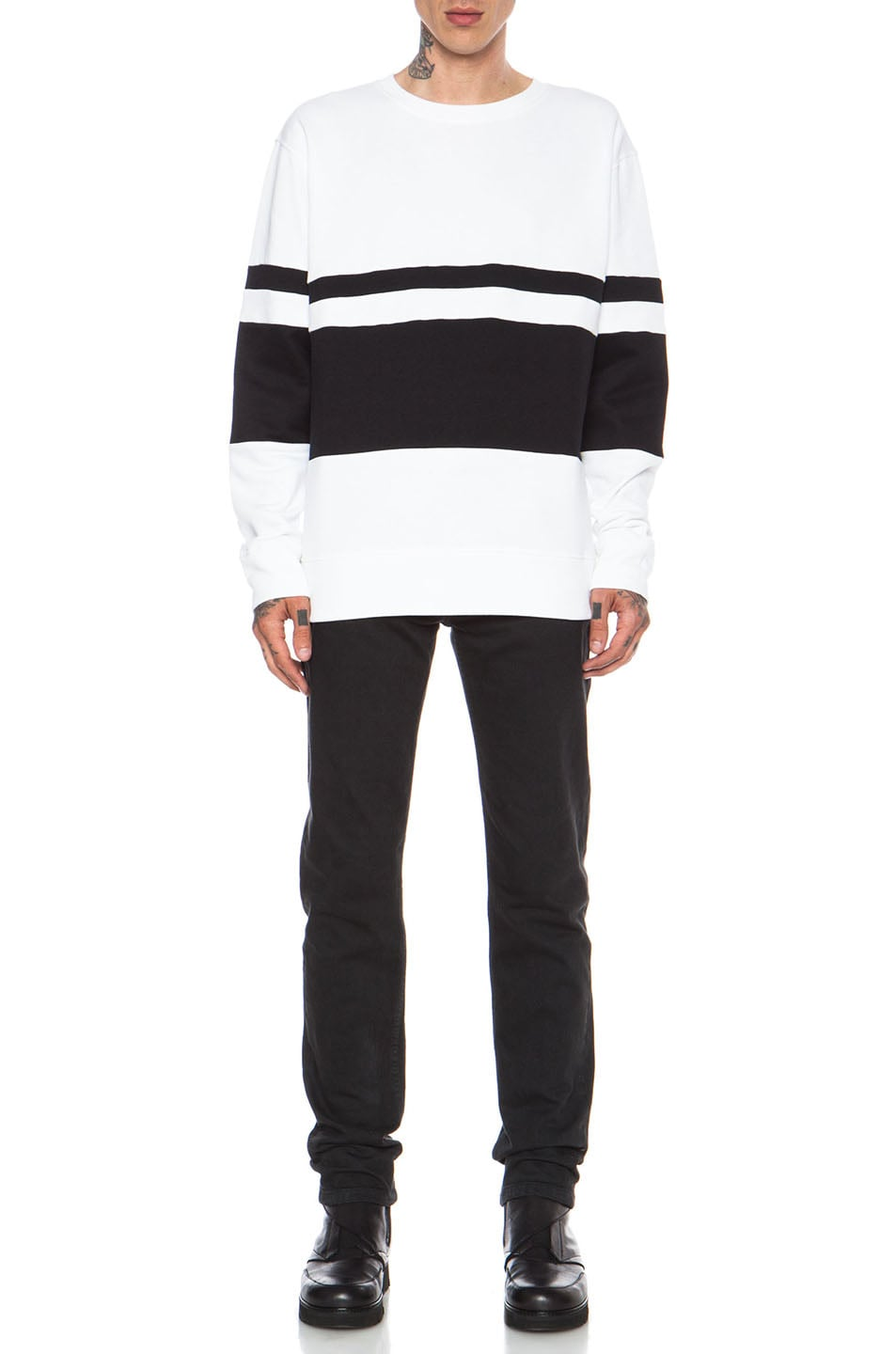 Image 5 of Casely-Hayford Whitfield Panel Stripe Cotton-Blend Sweatshirt in White