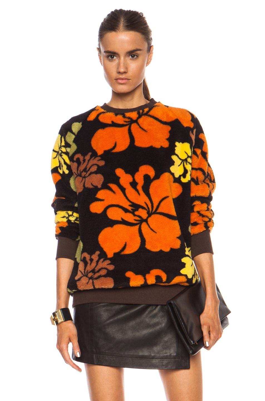 Image 1 of Casely-Hayford Galton Oversized Poly Sweatshirt in Orange & Black