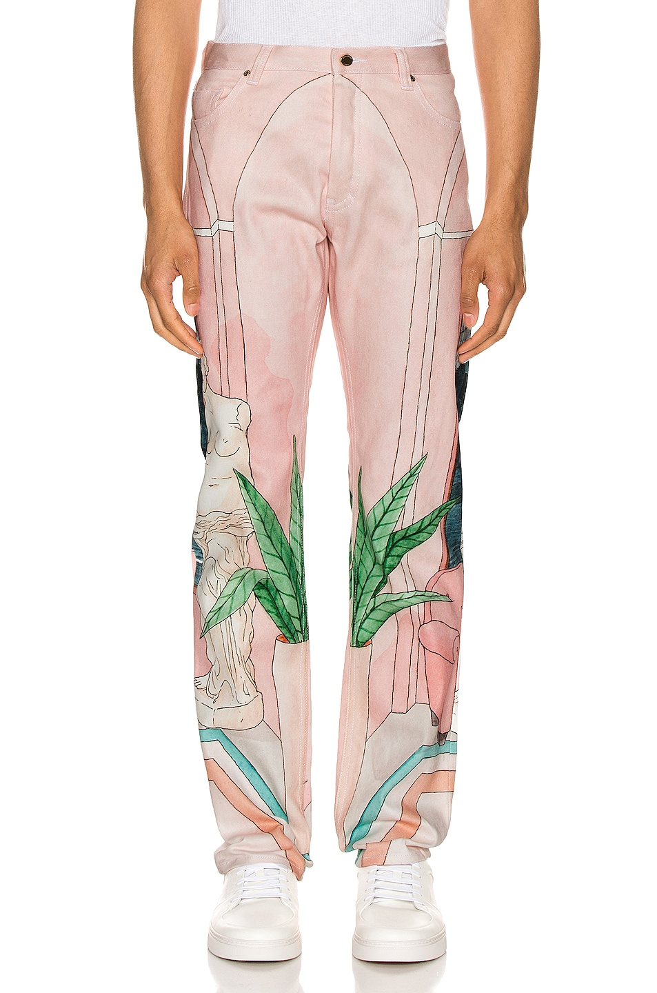 Image 1 of Casablanca Chambre 602 Printed Denim Jeans in Pink