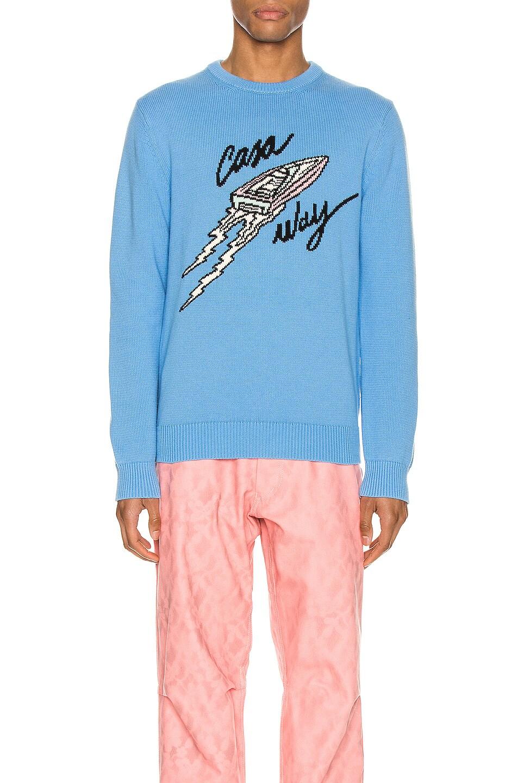 Image 1 of Casablanca Casa Way Intarsia Knit Pullover in Light Blue
