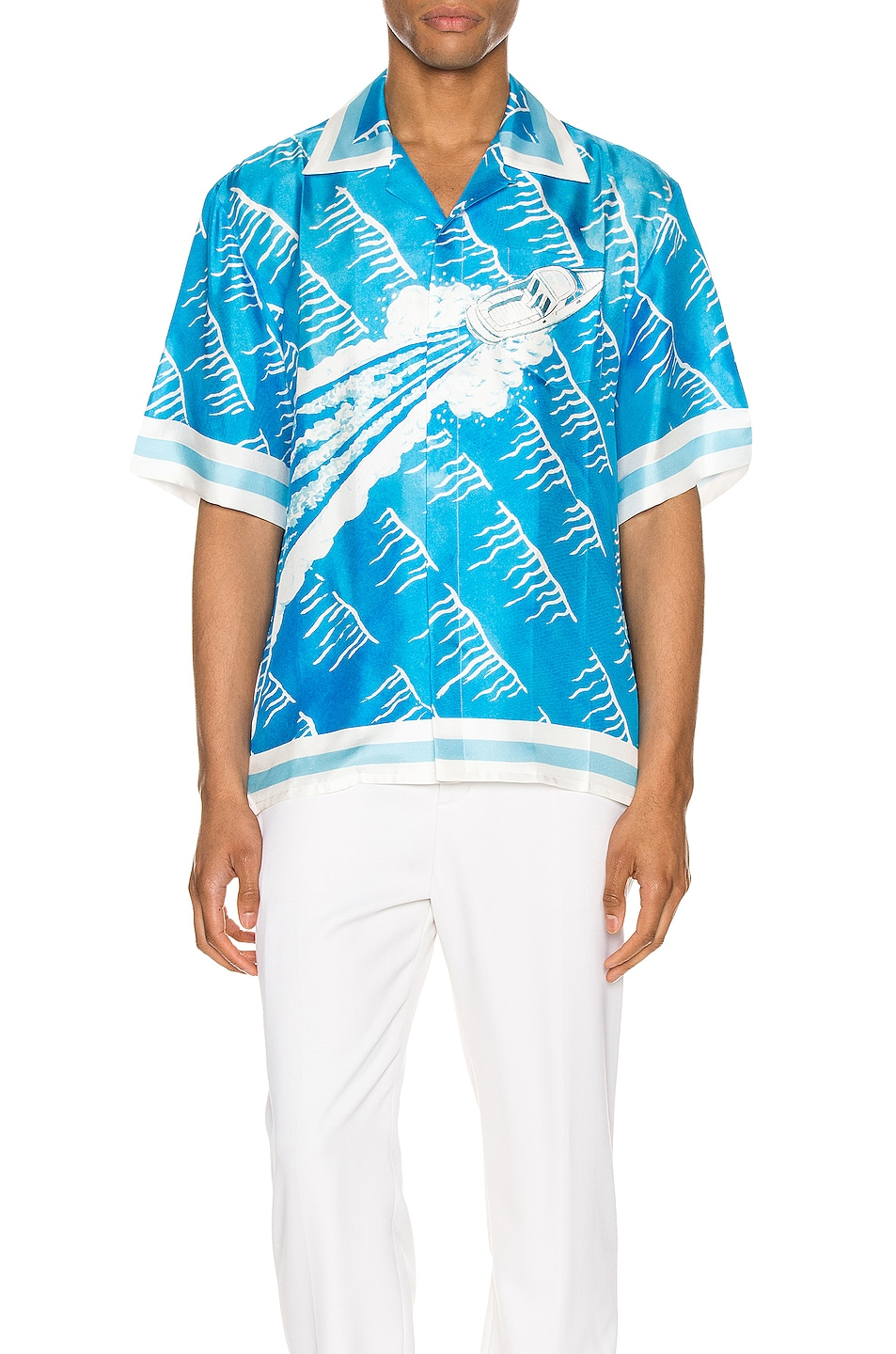 Image 1 of Casablanca Printed Short Sleeve Shirt in Sillage