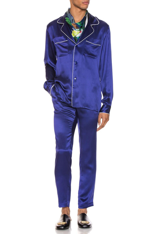 Image 4 of Casablanca De Soiree Pajama Shirt in Navy