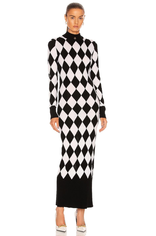 Image 1 of Casablanca Diamond Column Dress in Black & White