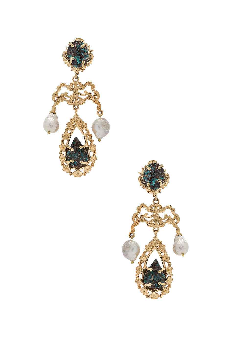 Image 1 of Christie Nicolaides Liliana Earrings in Gold & Turquoise