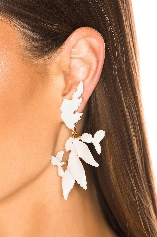 Image 2 of Christie Nicolaides Flor Enamel Earrings in White