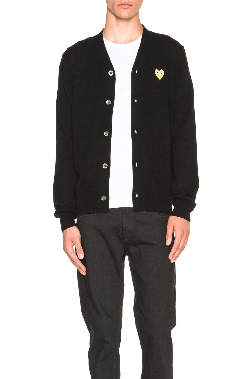 Image 1 of Comme Des Garcons PLAY Cardigan with Gold Emblem in Black