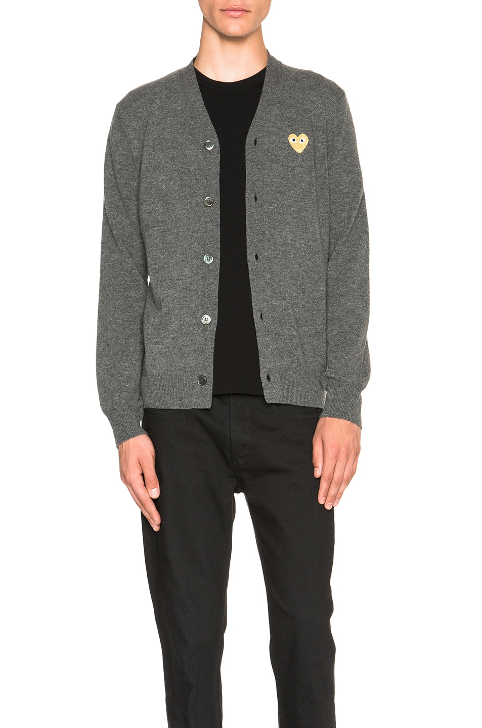 Image 1 of Comme Des Garcons PLAY Cardigan with Gold Emblem in Grey