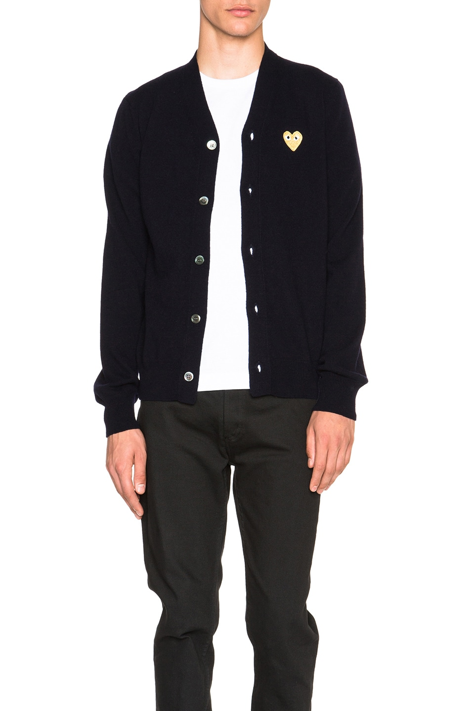 Image 1 of Comme Des Garcons PLAY Cardigan with Gold Emblem in Navy