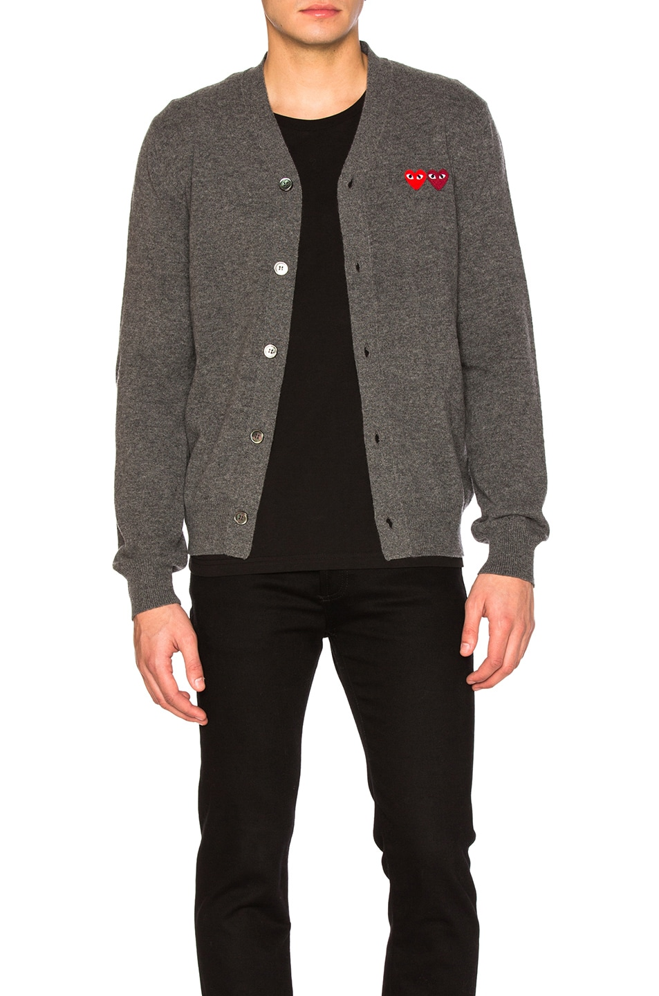 Image 1 of Comme Des Garcons PLAY Double Emblem Cardigan in Grey