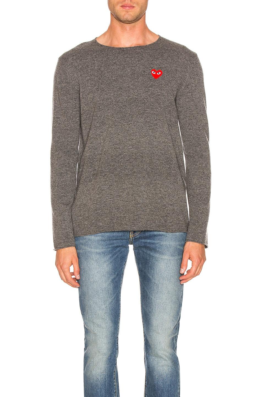 Image 1 of Comme Des Garcons PLAY Logo Emblem Sweatshirt in Grey