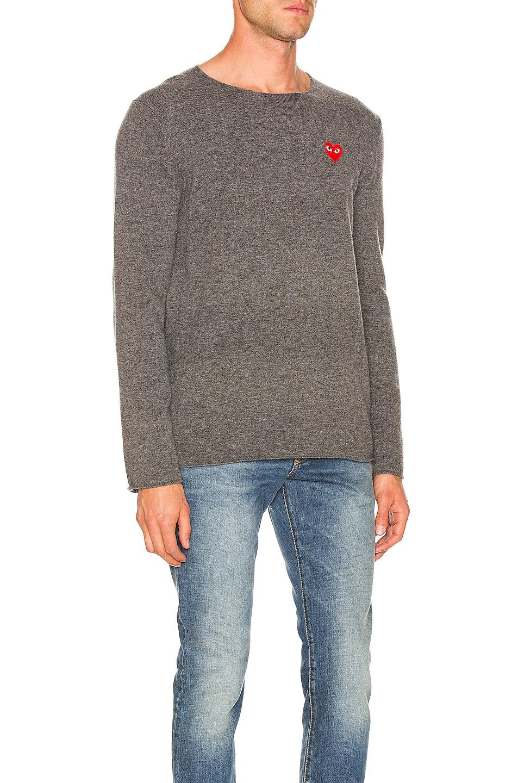 Image 2 of Comme Des Garcons PLAY Logo Emblem Sweatshirt in Grey