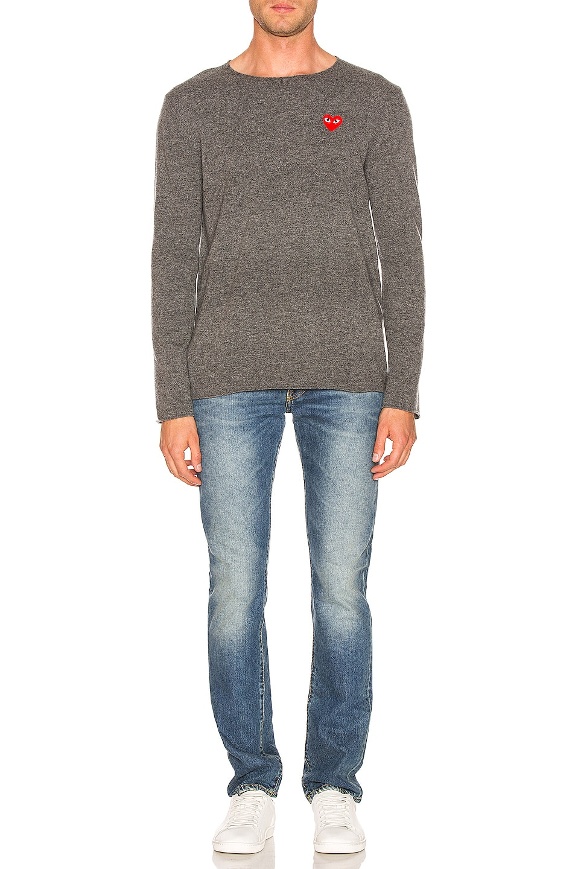 Image 4 of Comme Des Garcons PLAY Logo Emblem Sweatshirt in Grey
