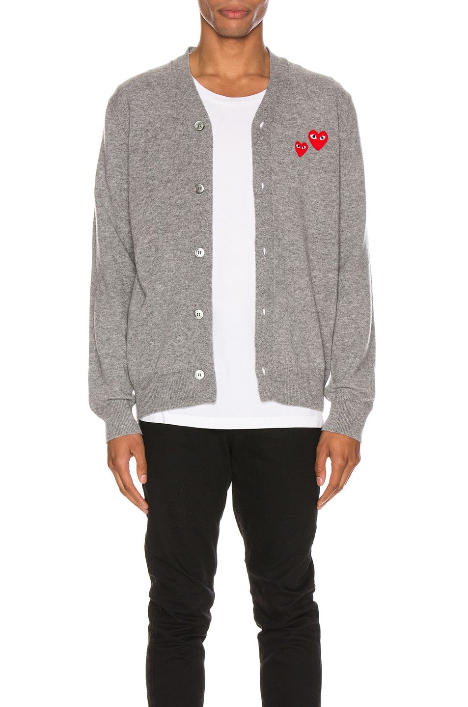 Image 1 of Comme Des Garcons PLAY Multiheart Cardigan in Grey