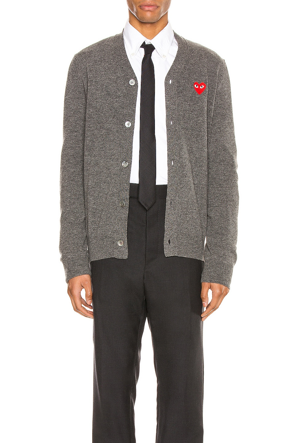 Image 1 of Comme Des Garcons PLAY Lambswool Cardigan with Red Emblem in Medium Grey