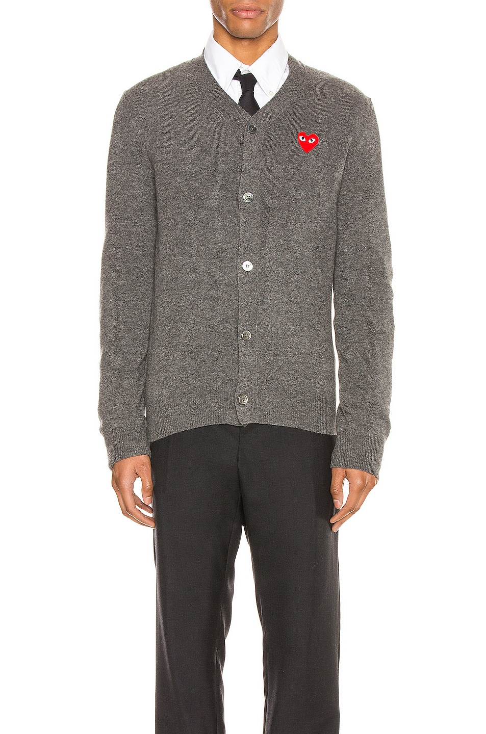 Image 2 of Comme Des Garcons PLAY Lambswool Cardigan with Red Emblem in Medium Grey