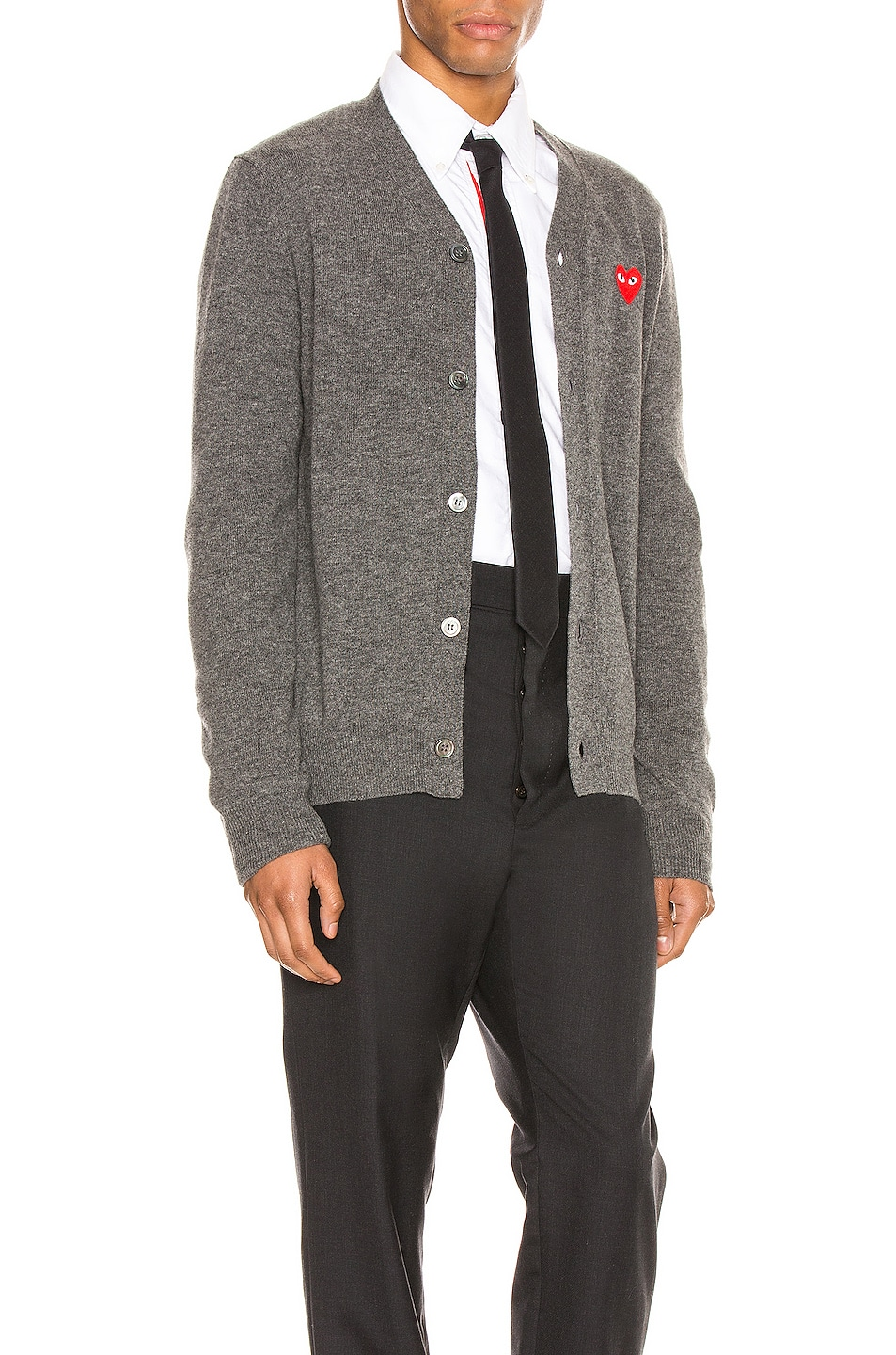 Image 3 of Comme Des Garcons PLAY Lambswool Cardigan with Red Emblem in Medium Grey