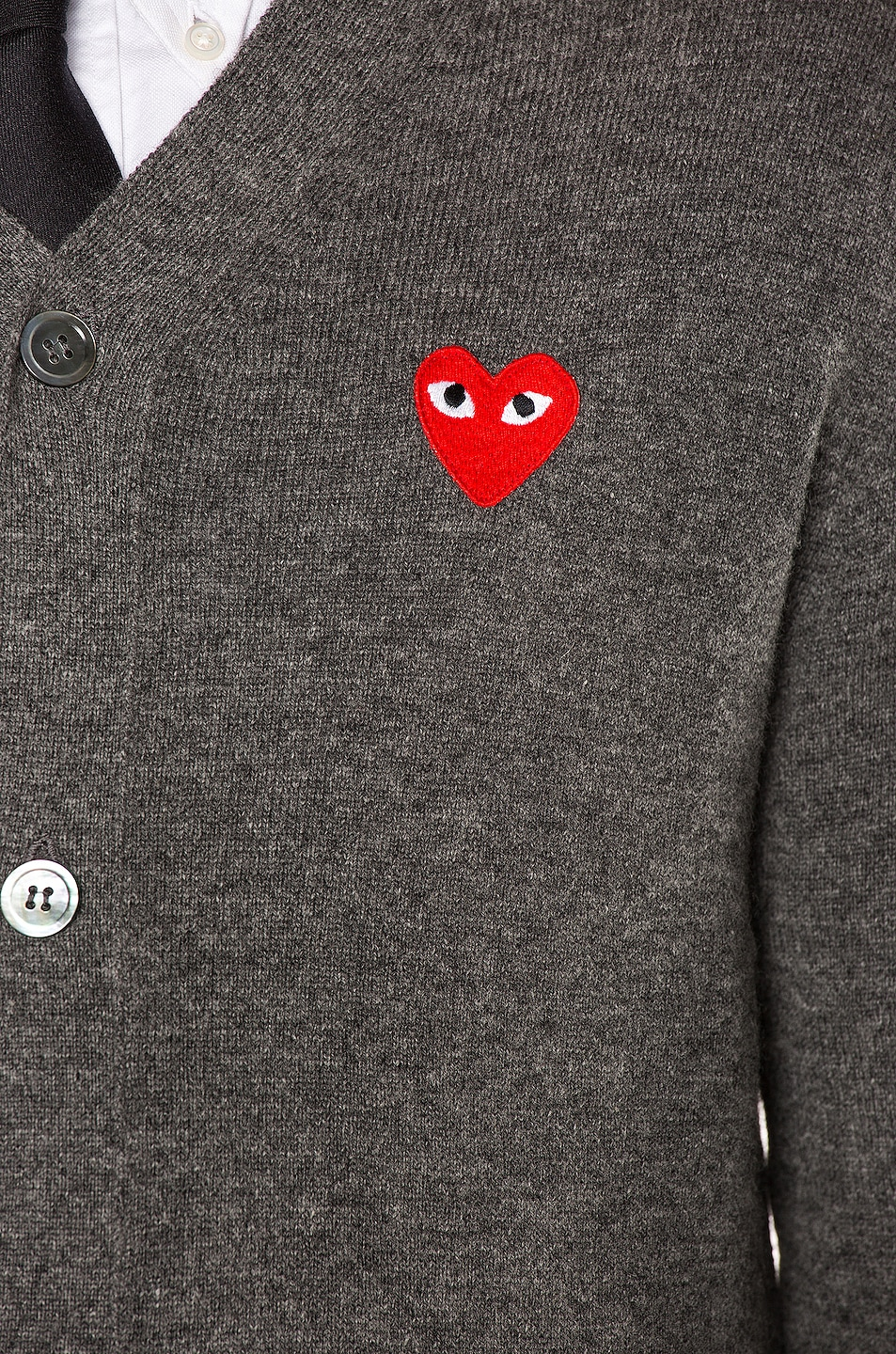 Image 6 of Comme Des Garcons PLAY Lambswool Cardigan with Red Emblem in Medium Grey
