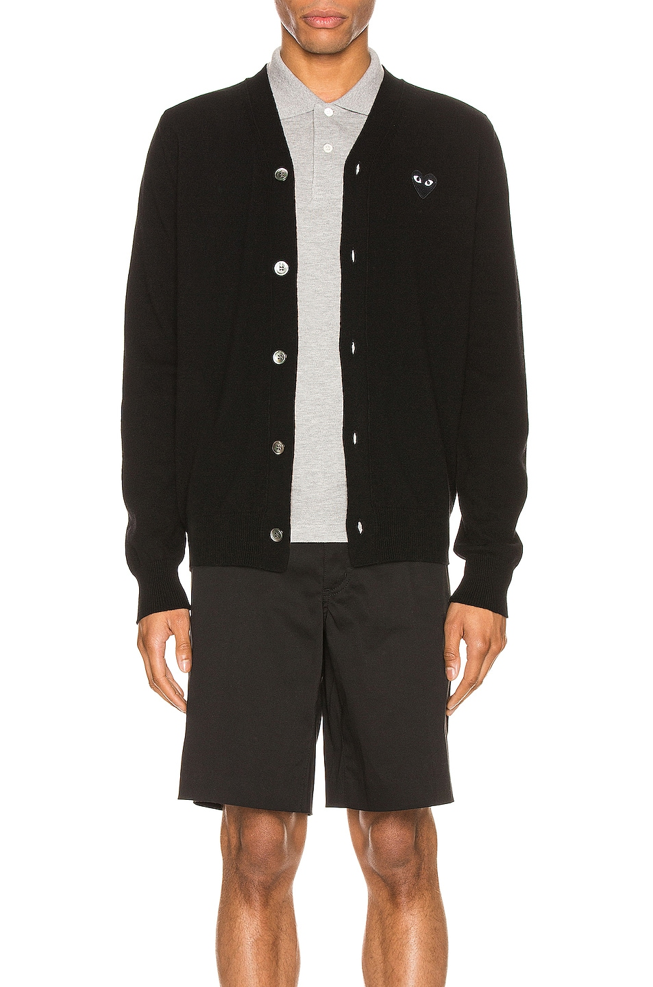 Image 1 of Comme Des Garcons PLAY Lambswool Cardigan with Black Emblem in Black