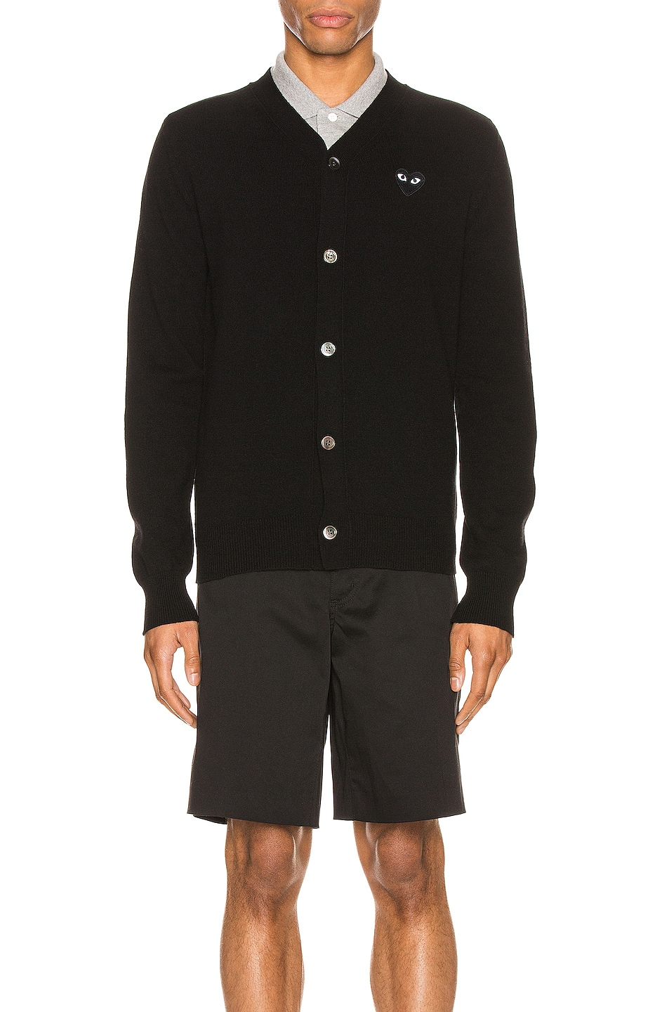 Image 2 of Comme Des Garcons PLAY Lambswool Cardigan with Black Emblem in Black
