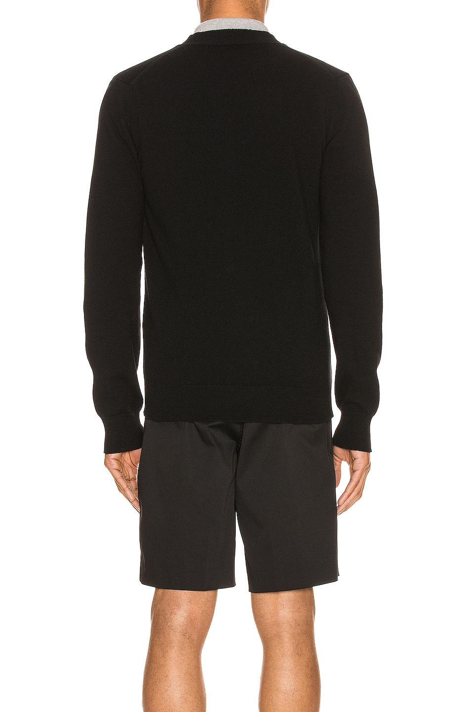 Image 4 of Comme Des Garcons PLAY Lambswool Cardigan with Black Emblem in Black