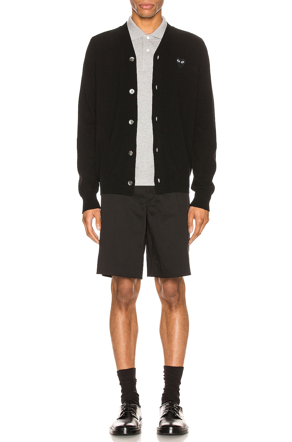 Image 5 of Comme Des Garcons PLAY Lambswool Cardigan with Black Emblem in Black