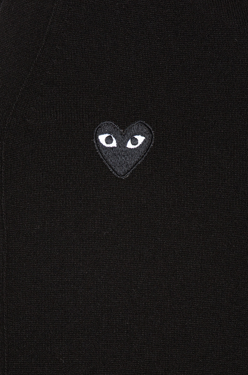 Image 6 of Comme Des Garcons PLAY Lambswool Cardigan with Black Emblem in Black