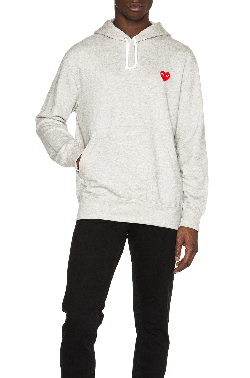 Image 1 of Comme Des Garcons PLAY Red Emblem Cotton Hoodie in Grey
