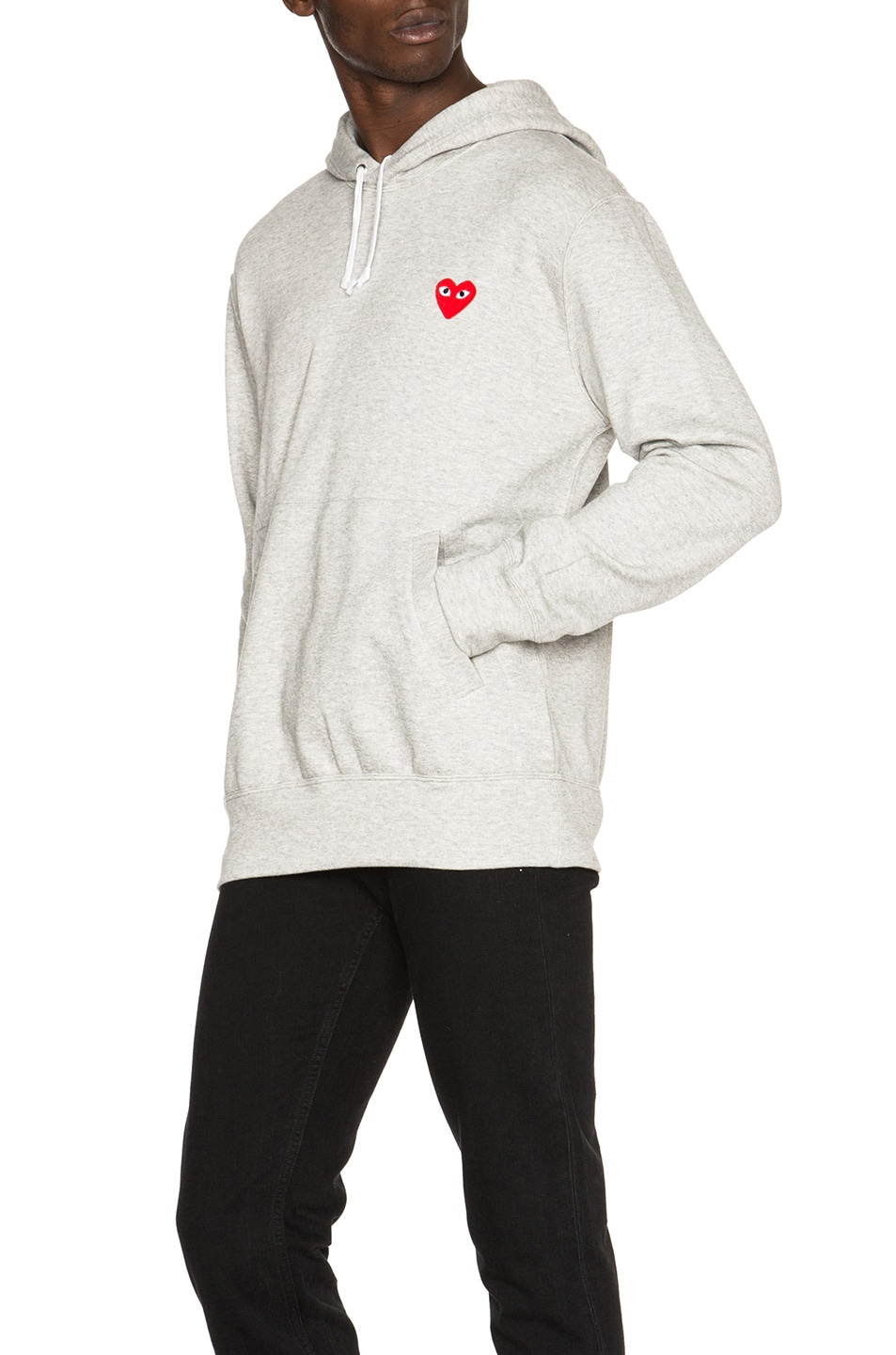 Image 2 of Comme Des Garcons PLAY Red Emblem Cotton Hoodie in Grey