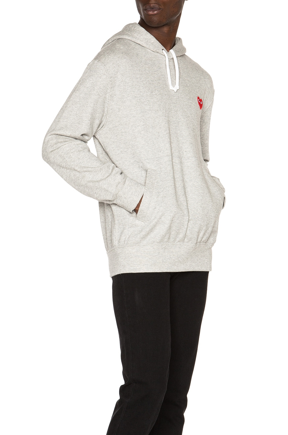 Image 3 of Comme Des Garcons PLAY Red Emblem Cotton Hoodie in Grey