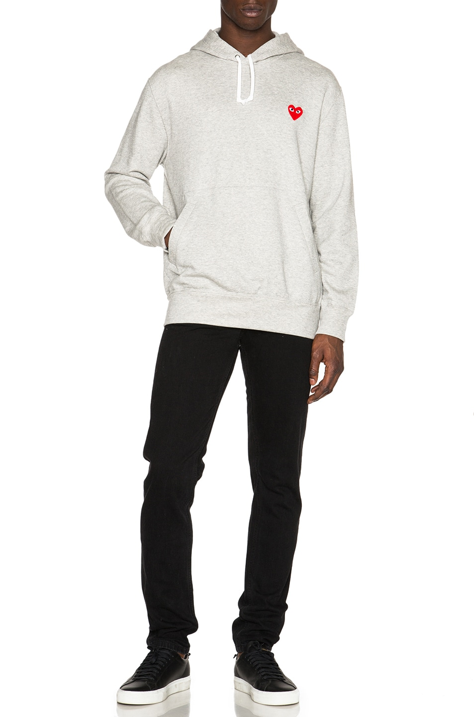 Image 5 of Comme Des Garcons PLAY Red Emblem Cotton Hoodie in Grey