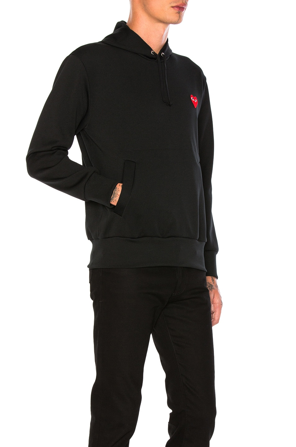Image 2 of Comme Des Garcons PLAY Red Emblem Poly Hoodie in Black