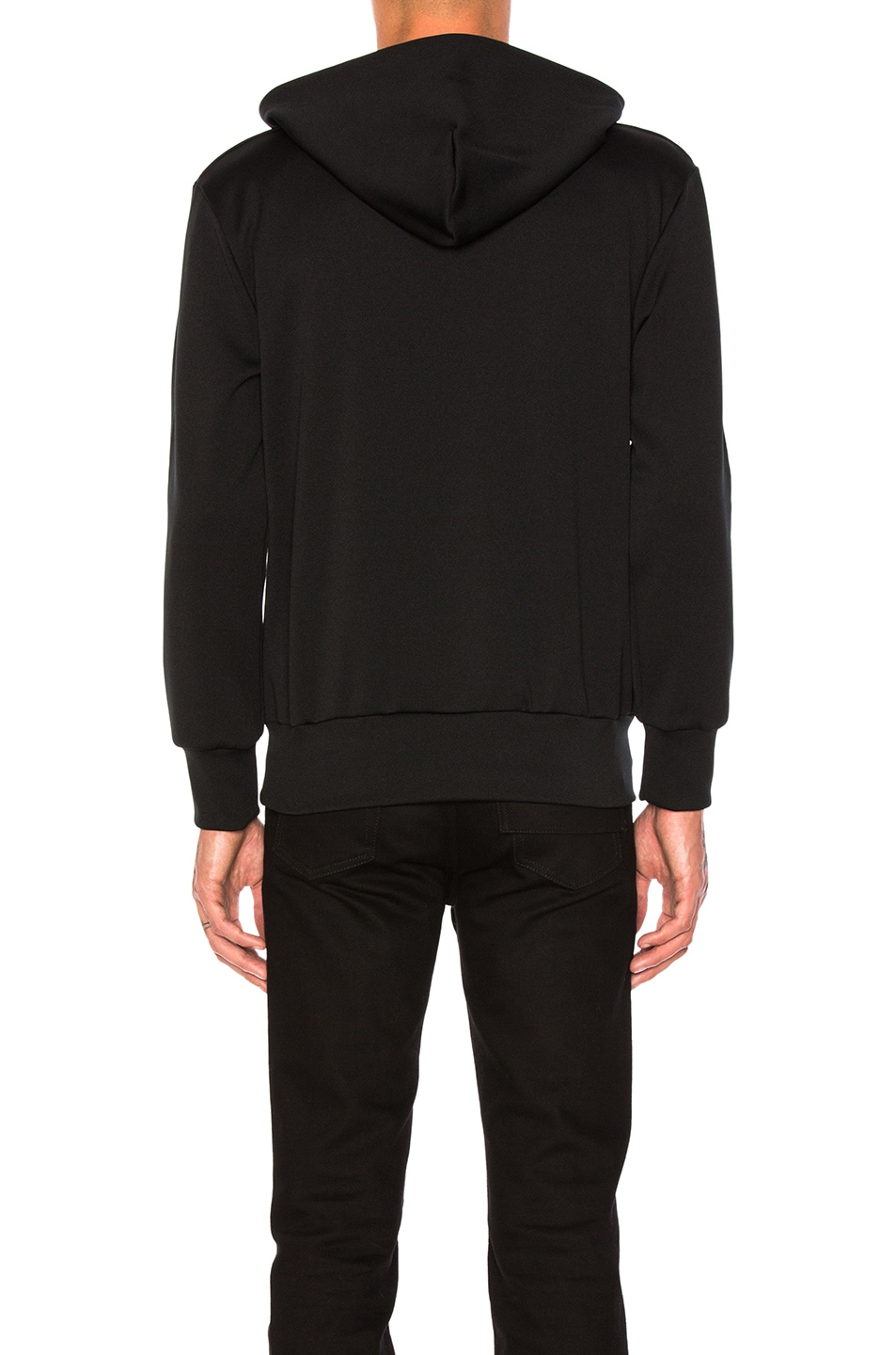 Image 3 of Comme Des Garcons PLAY Red Emblem Poly Hoodie in Black
