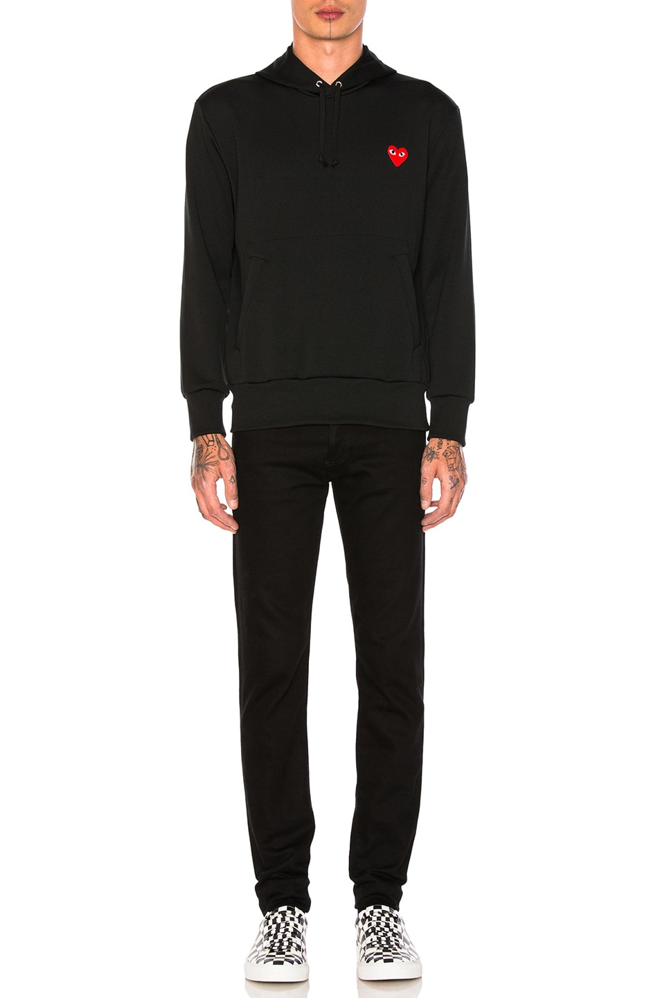 delicate Comme Des Garcons PLAY Red Emblem Poly Hoodie Black