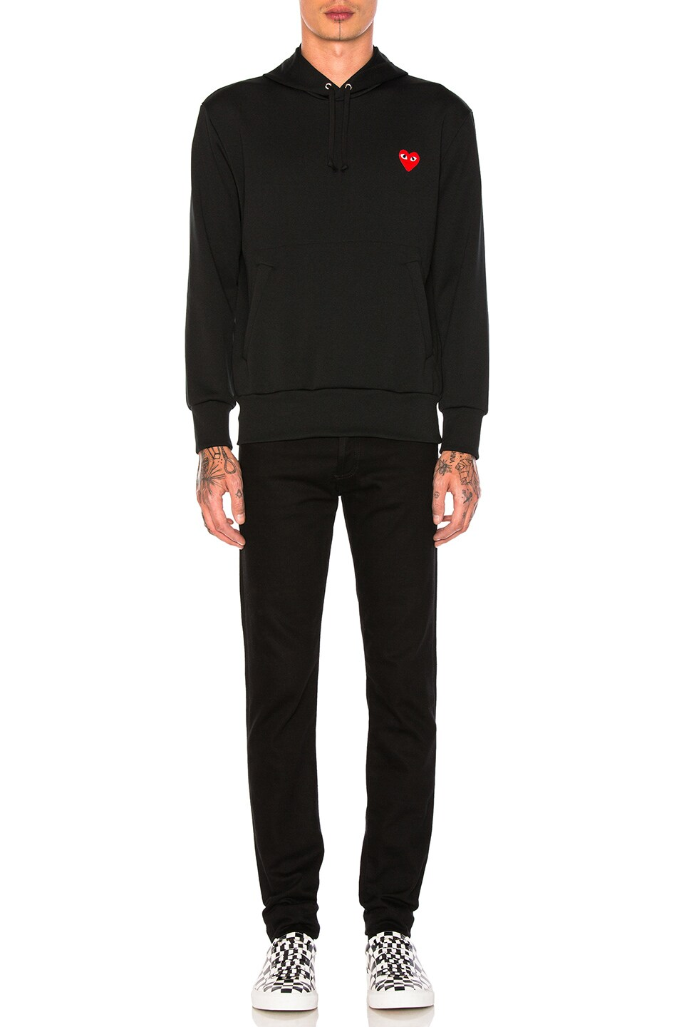 Image 4 of Comme Des Garcons PLAY Red Emblem Poly Hoodie in Black