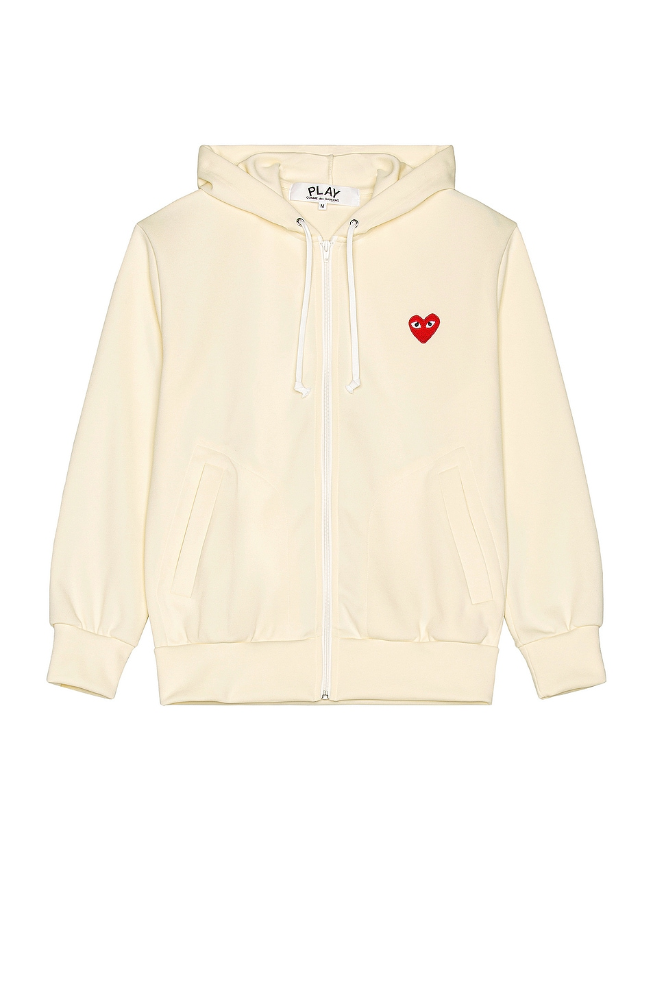 Image 1 of Comme Des Garcons PLAY Pullover Hoodie with Red Emblem in Ivory