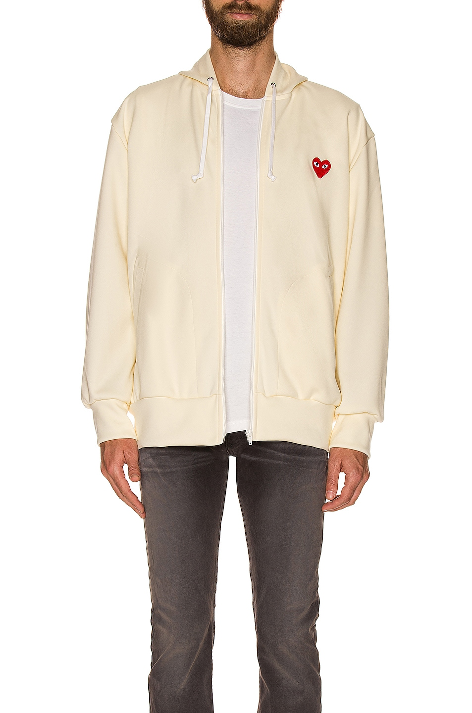 Image 3 of Comme Des Garcons PLAY Pullover Hoodie with Red Emblem in Ivory