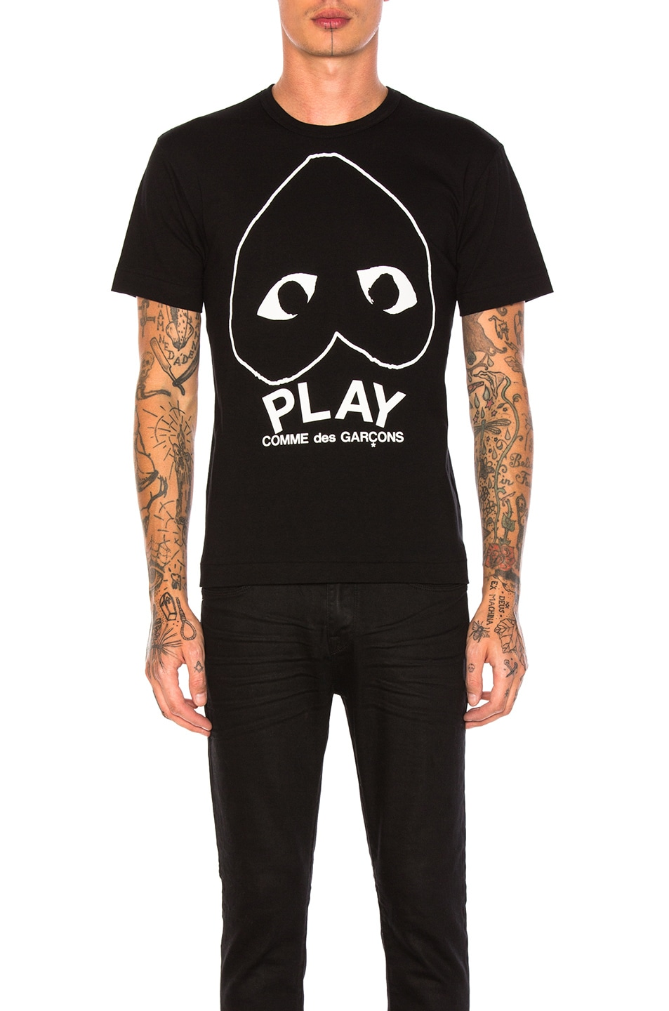 Image 1 of Comme Des Garcons PLAY Emblem Cotton Tee in Black