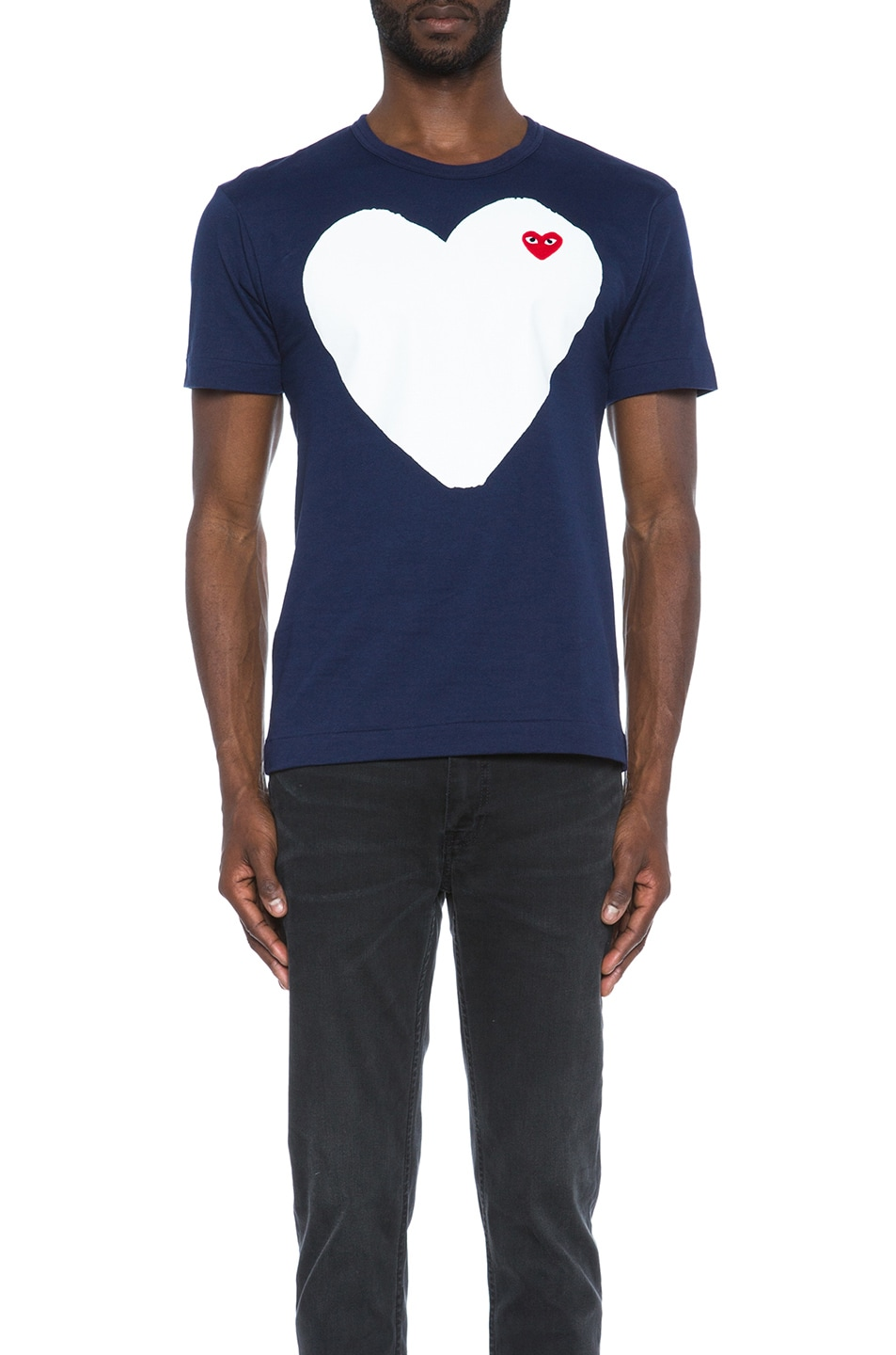 Image 1 of Comme Des Garcons PLAY Red Emblem Cotton Heart Tee in Navy